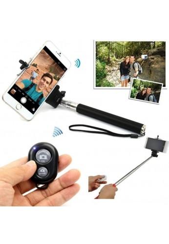 Baston Monopod para Selfies o Auto Retratos +Control Bluetooth para Celulares y Cámaras - Color Negro