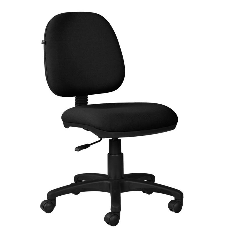 Silla de escritorio ofc giratoria sin brazos negro cuero for Silla escritorio oficina