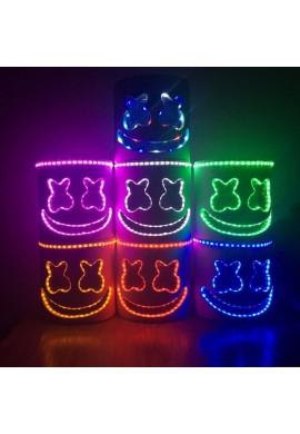 Máscara De Marshmello Dj Cabeza Completa Luz Led Halloween